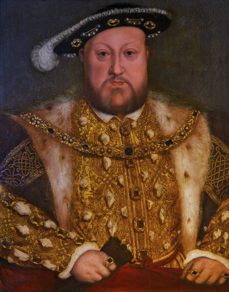 Great Britain, United Kingdom, England,  Surrey,  London, Hampton Court Palace, Henry VIII, copy of portrait by Hans Holbein : Stock Photo