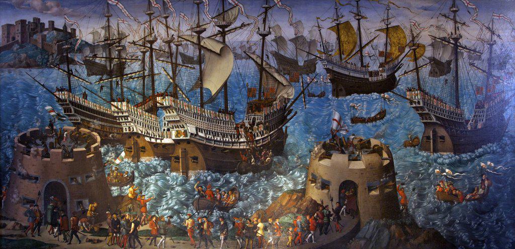 Great Britain, United Kingdom, England,  Surrey,  London, Hampton Court Palace, Embarkation at Dover, circa 1545, unknown artist : Stock Photo