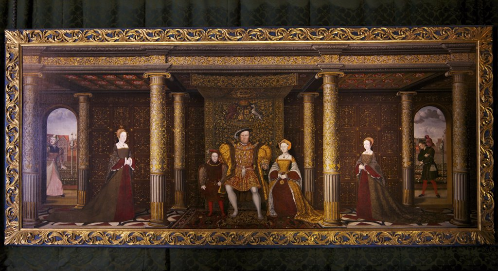 Stock Photo: 4042-2082 Great Britain, United Kingdom, England,  Surrey,  London, Hampton Court Palace, Family of Henry VIII,  circa 1545, left to right,  141 x 355 cm, Princess Mary, Prince Edward, Henry VIII, Jane Seymour, and Princess Elizabeth