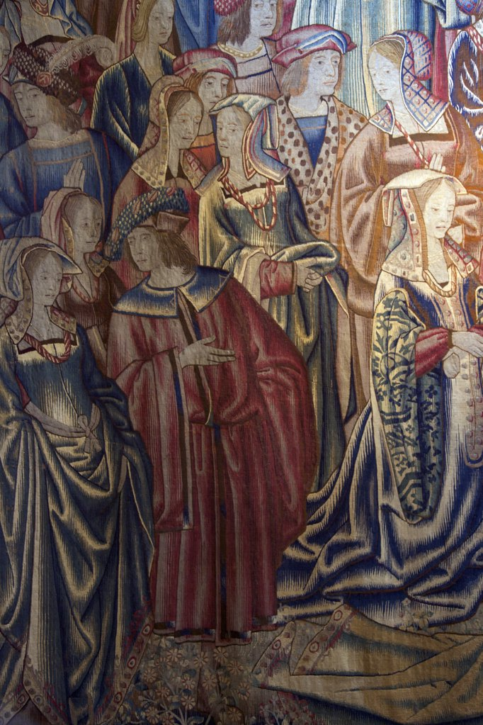 Great Britain, United Kingdom, England,  Surrey,  London, Hampton Court Palace, Detail of Tapestry from  Great Watching Chamber : Stock Photo