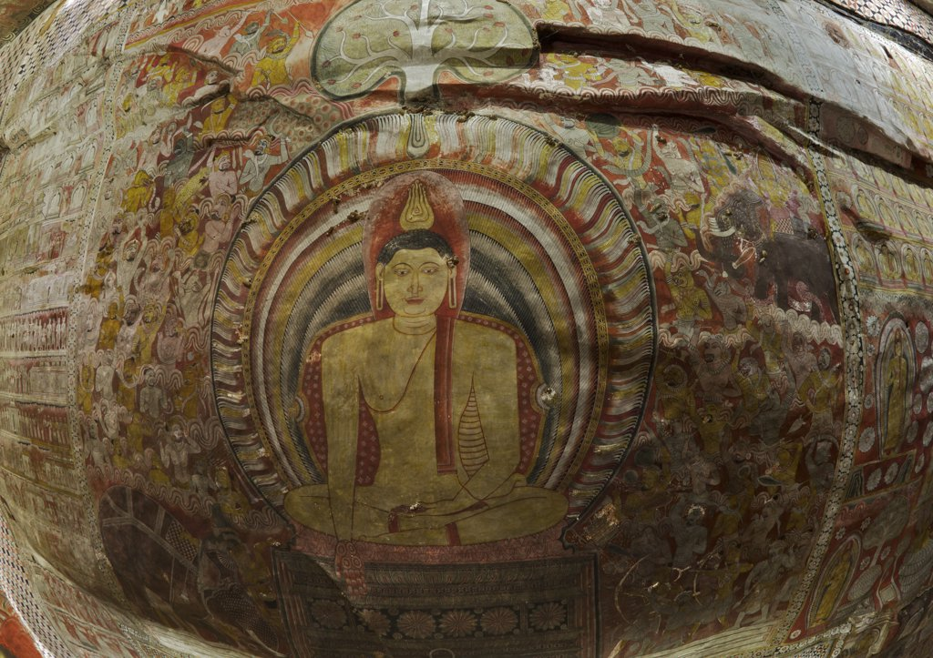 Stock Photo: 4042-2129 Sri Lanka, Dambulla Cave Temple, Roof mural