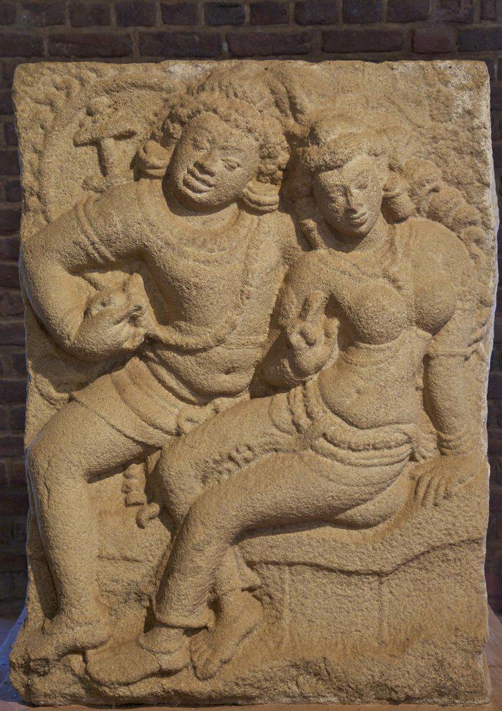 Sri Lanka, Anuradhapura, Museum of the Rock temple of Isurumuniya, Isurumuniya Lovers, 6th century (UNESCO World Heritage Site) : Stock Photo