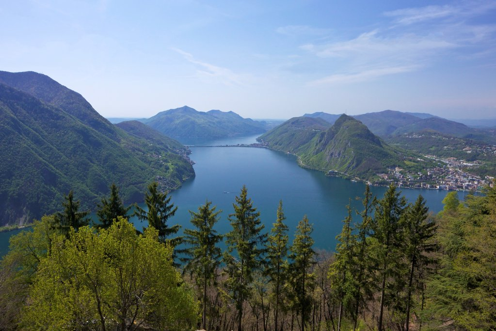 Switzerland, Monte San Salvador, Lake Lugano, Ticino, View of Monte San Salvador from Monte Bre : Stock Photo