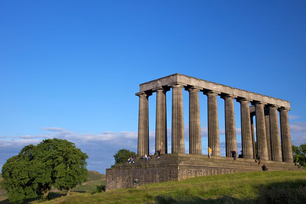 UK, Scotland, Edinburgh, Calton Hill, National Monument in summer sunshine : Stock Photo