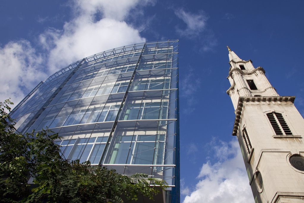 Low angle view of a cathedral, St. Paul's Cathedral, City Of London, London, England : Stock Photo