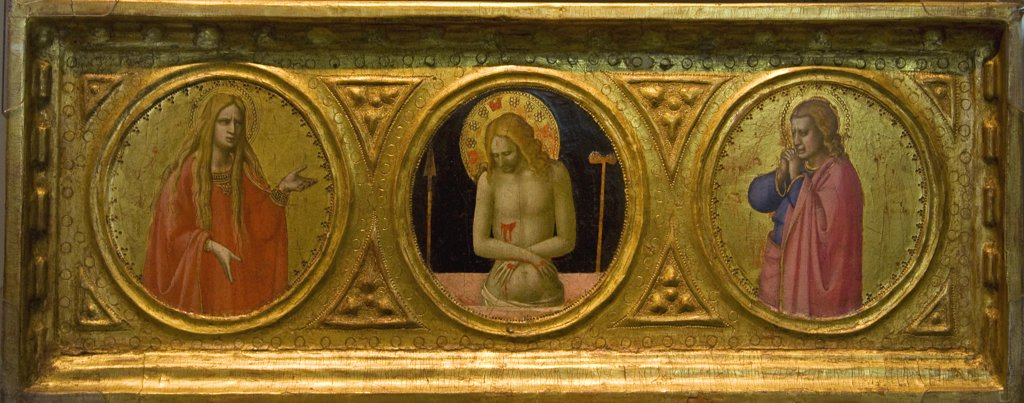 Stock Photo: 4042-238 Man of Sorrows with Saints,  by Fra Angelico,  1422,  England,  London,  Courtauld Institute and Galleries,  1400-1455