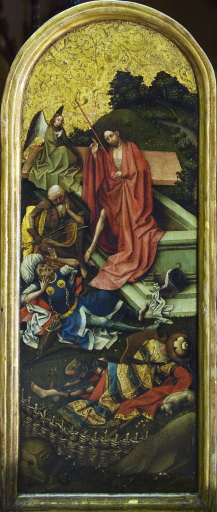 Christ's Resurrection from the Tomb from Triptych,  by Robert Campin,  England,  London,  Courtauld Institute and Galleries,  1420 : Stock Photo