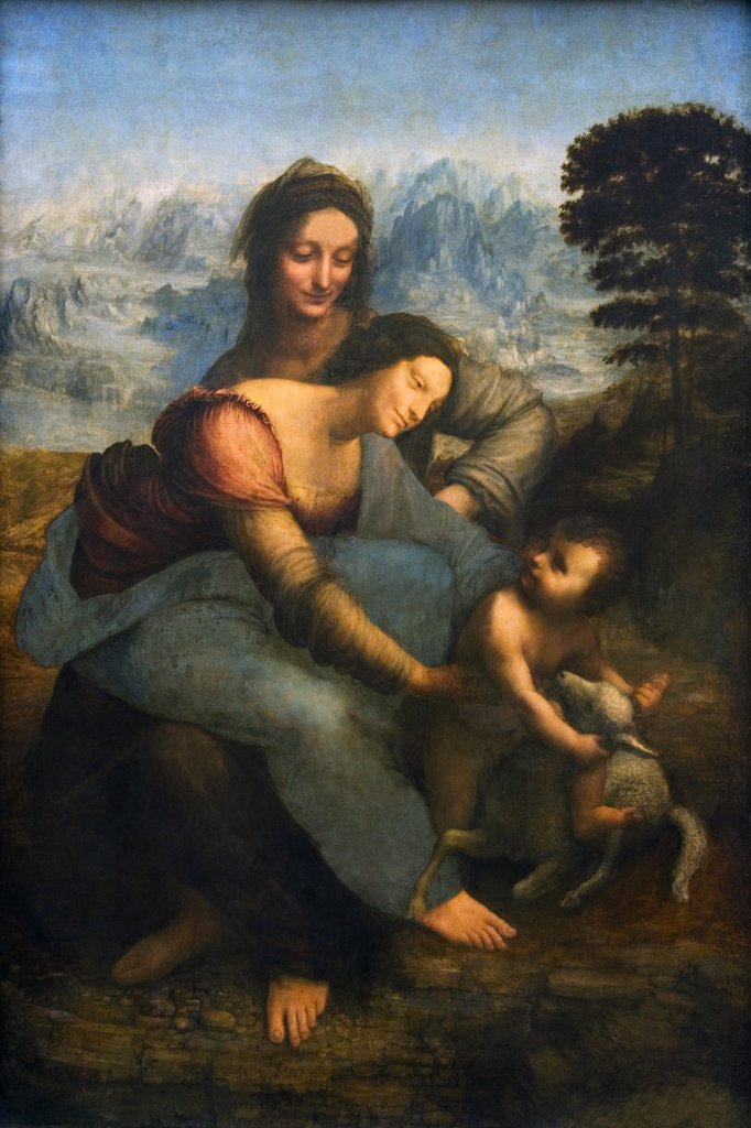 Stock Photo: 4042-252 Virgin and Child with Saint Anne,  by Leonardo da Vinci,  oil on wood,  1508-1510,  1452-1519