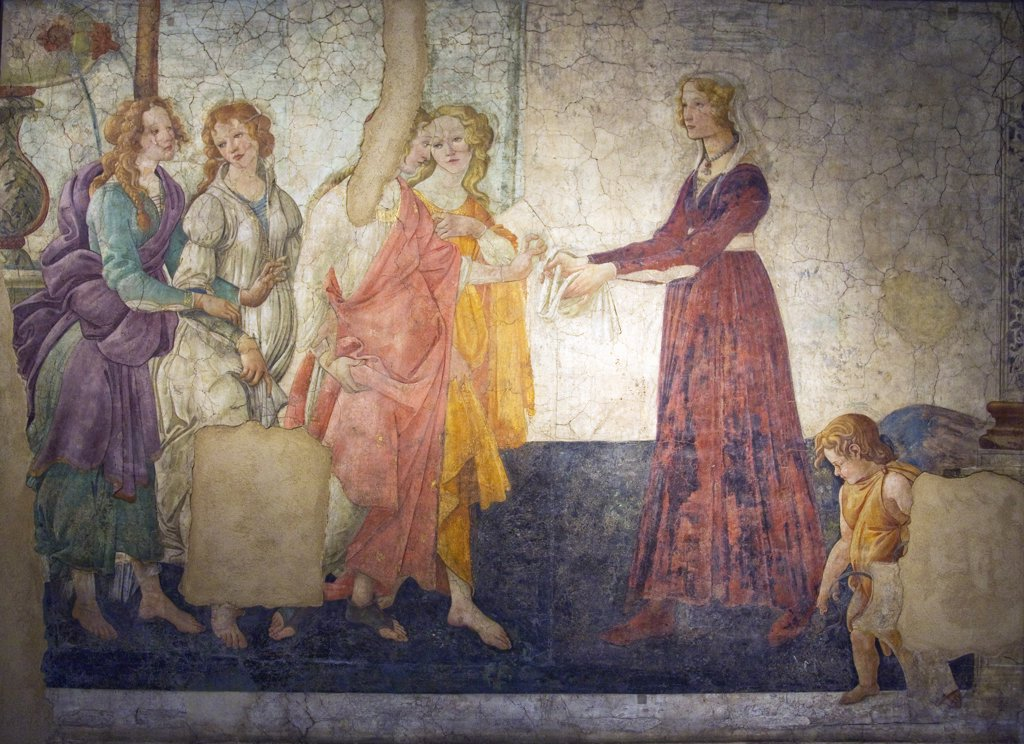 Venus and the Three Graces Presenting Gifts to a Young Woman,  by Sandro Botticelli,  fresco,  France,  Paris,  Musee du Louvre,  1444-1510 : Stock Photo