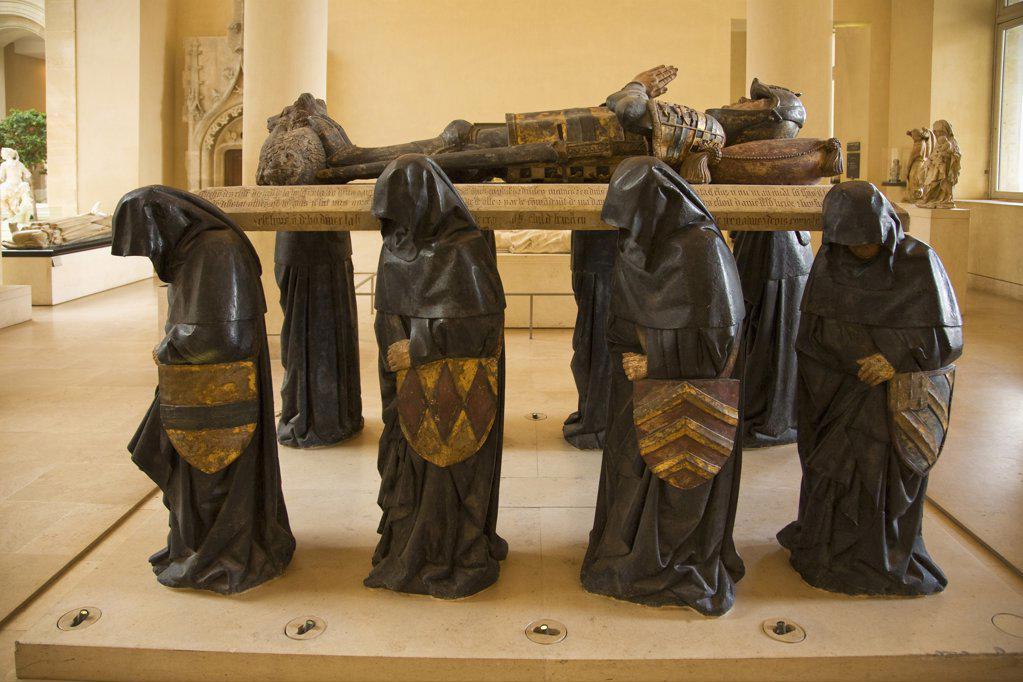 Effigy of Philippe Pot,  Grand Senechal de Bourgogne,  France,  Paris,  Musee du Louvre : Stock Photo