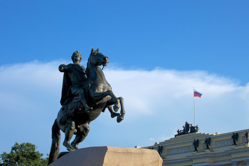 Stock Photo: 4042-2689 Bronze Horseman equestrian statue of Peter the Great in St. Petersburg, Russia