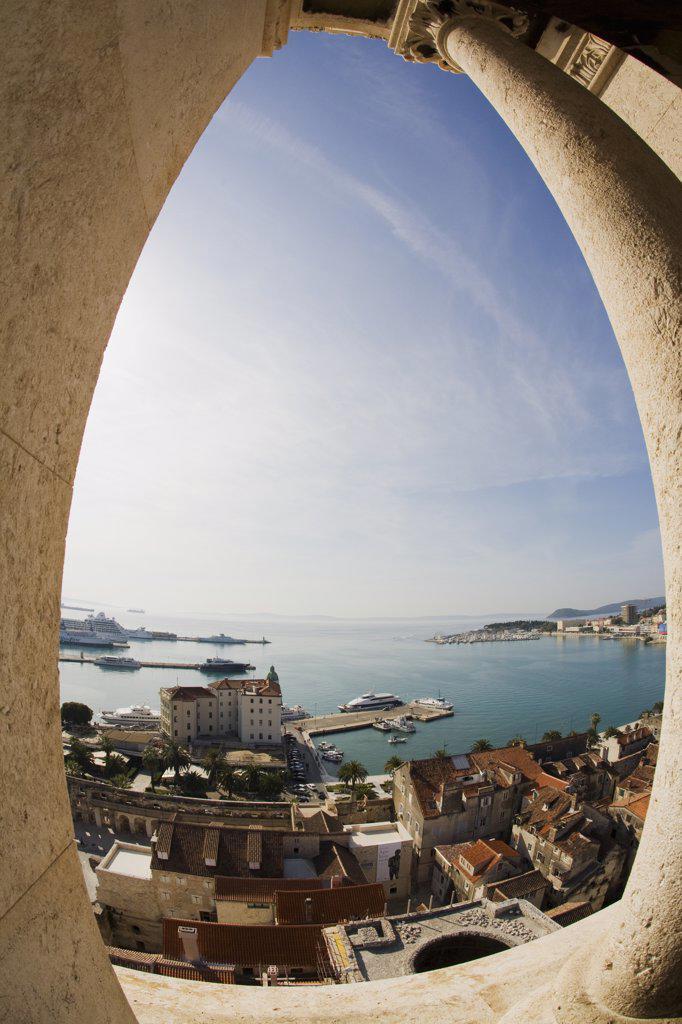 Town viewed through a window, Old Town, Split, Dalmatia, Croatia : Stock Photo