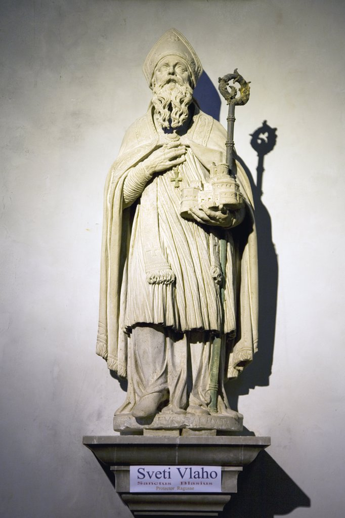 Statue of Dubrovnik's Patron Saint Blaise, Croatia, Dalmatia, Dubrovnik, Rector's Palace : Stock Photo