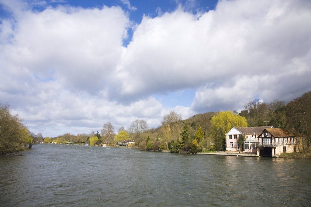 Stock Photo: 4042-318 Houses at the waterfront, Thames River, Henley-On-Thames, Oxfordshire, England