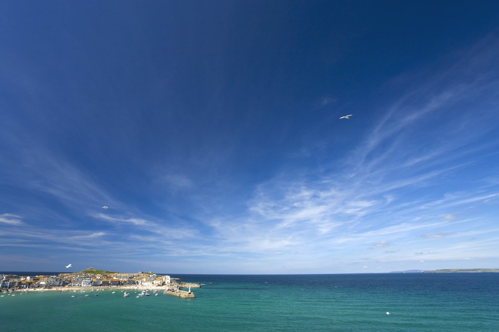 Stock Photo: 4042-355 Old Harbour Harbor Atlantic ocean in summer, St Ives, United Kingdom