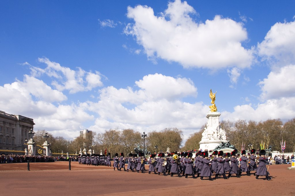 Stock Photo: 4042-379 British Royal Guards marching, London, England