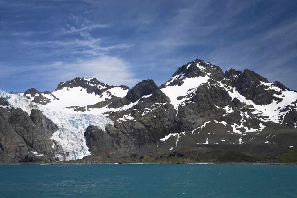 Mountain range at the bayside, Bertrab Glacier, Gold Harbor, South Georgia : Stock Photo