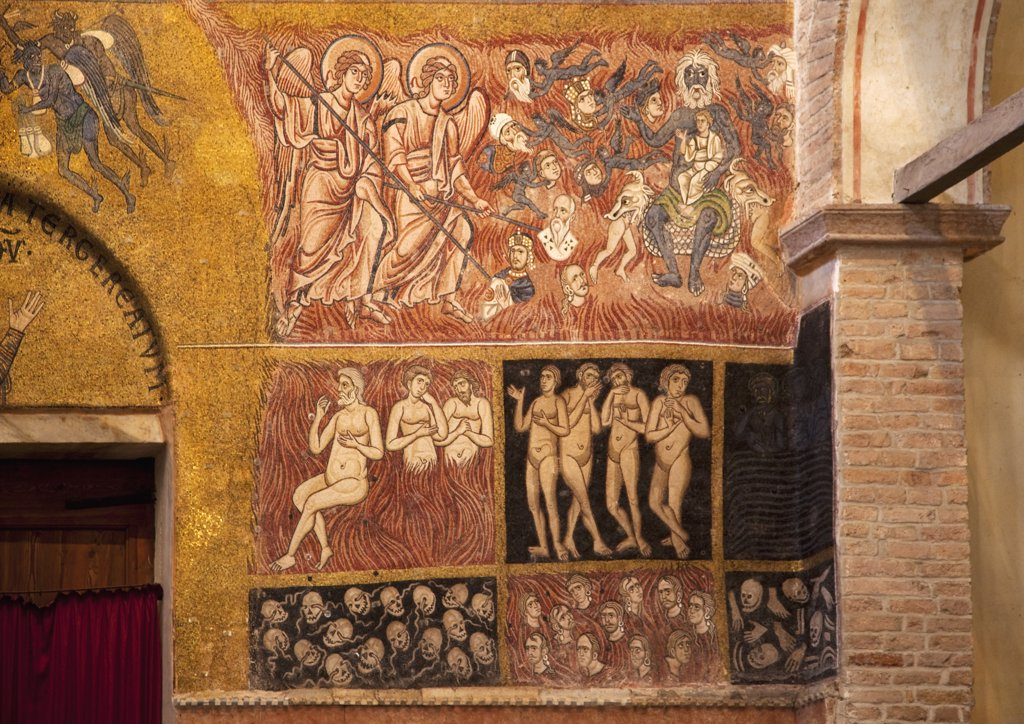 Stock Photo: 4042-839 Italy, Veneto, Venice, Torcello, Cathedral of Santa Maria Assunta, Judgment Day, mosaic