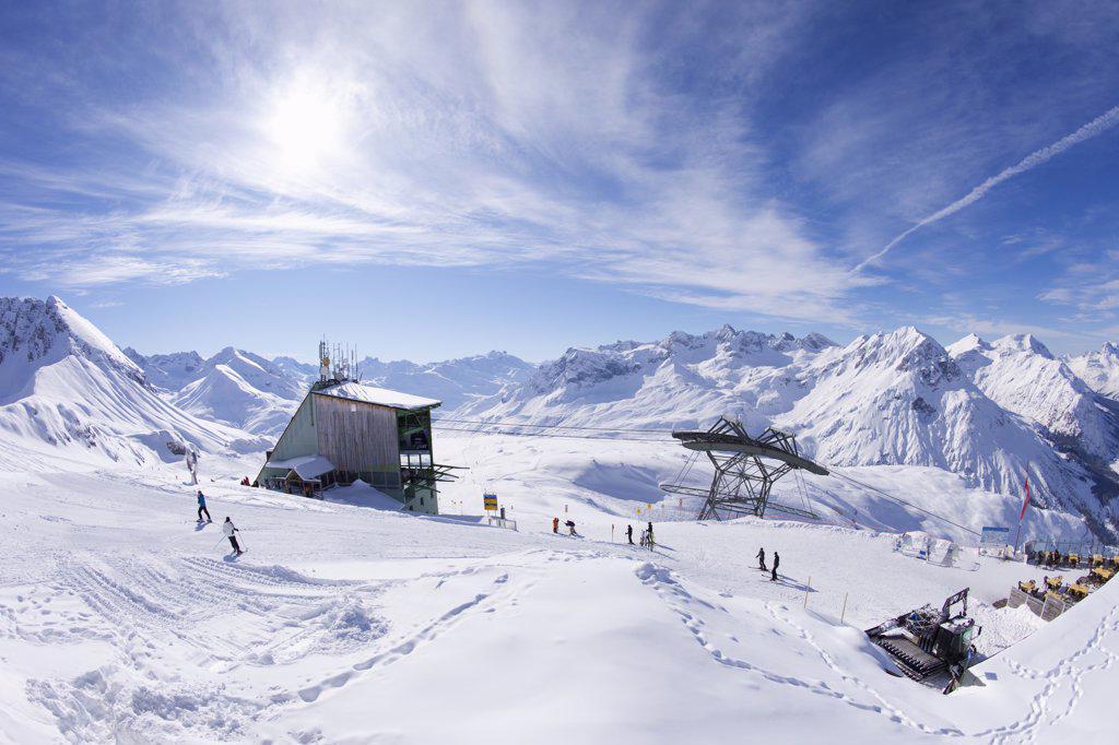 Stock Photo: 4042-861 Austria, Austrian Alps, Rufikopf Restaurant in Stubenbach Lech near St Anton and Arlberg in winter snow