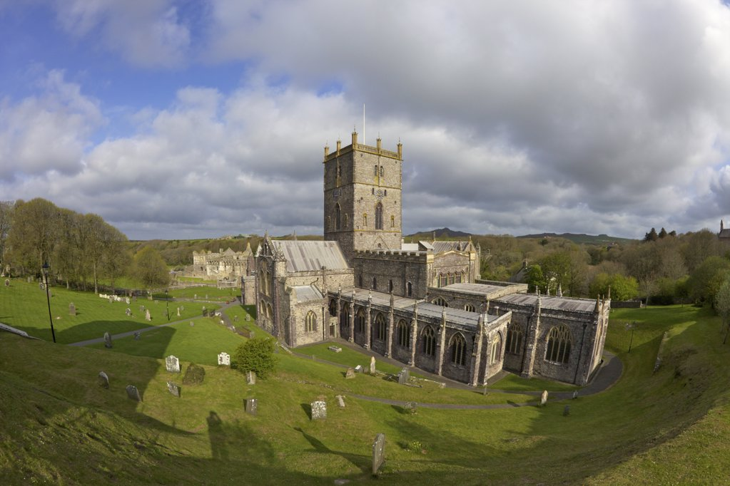 Stock Photo: 4042-901 High angle view of a cathedral, St Davids Cathedral, St David's, Pembrokeshire Coast National Park, Wales