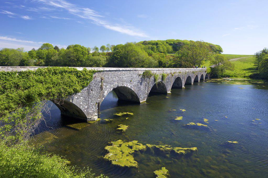 Stock Photo: 4042-987 Arch bridge over a pond, Eight-Arch Bridge, Bosherston lily ponds, Pembrokeshire Coast National Park, Wales
