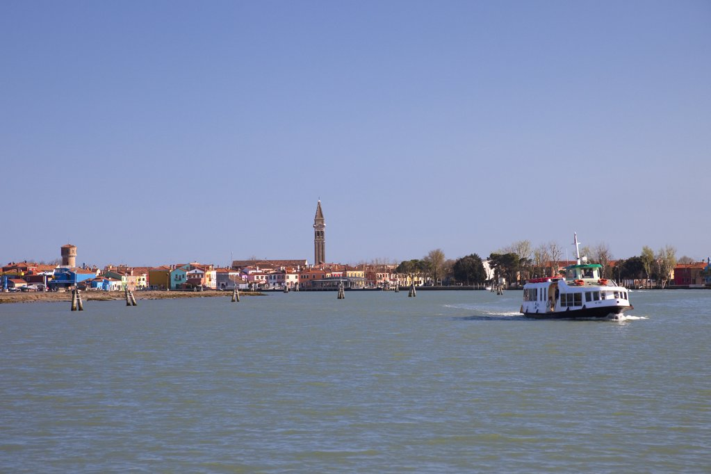 Motorboat in the lagoon, Burano, Venice, Veneto, Italy : Stock Photo
