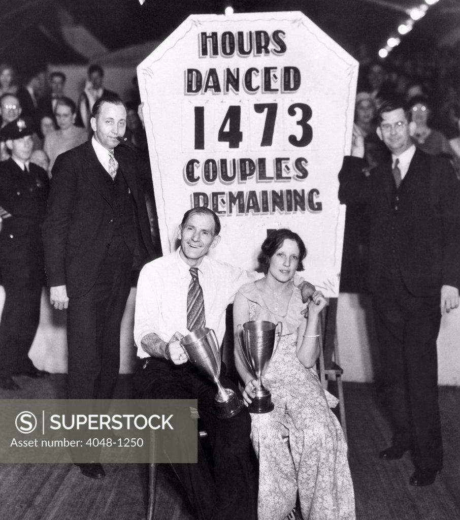 Stock Photo: 4048-1250 56-year-old Frank Miller and 22-year-old Ruth Smith win a dance marathon in Atlantic City. They danced for more than 61 days, 1931