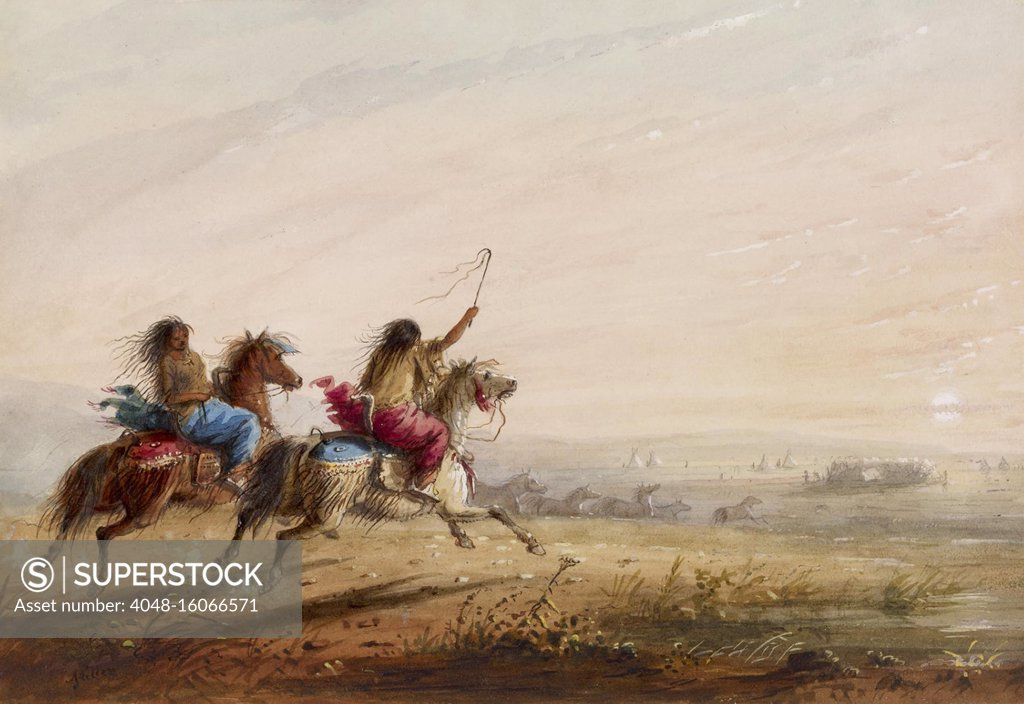 Indian Girls Racing 1858 1860 By Alfred Jacob Miller Painting Watercolor On Paper Just Before Sunset Native American Girls Undertake A Light Hearted Race While Bringing In The Horses For The Night Bsloc 2019 9 24 Stock
