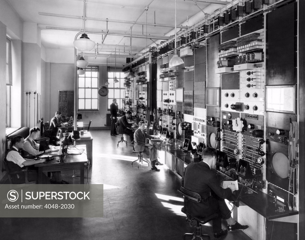 Stock Photo: 4048-2030 The telephone company's General Control Office, New York, circa 1935
