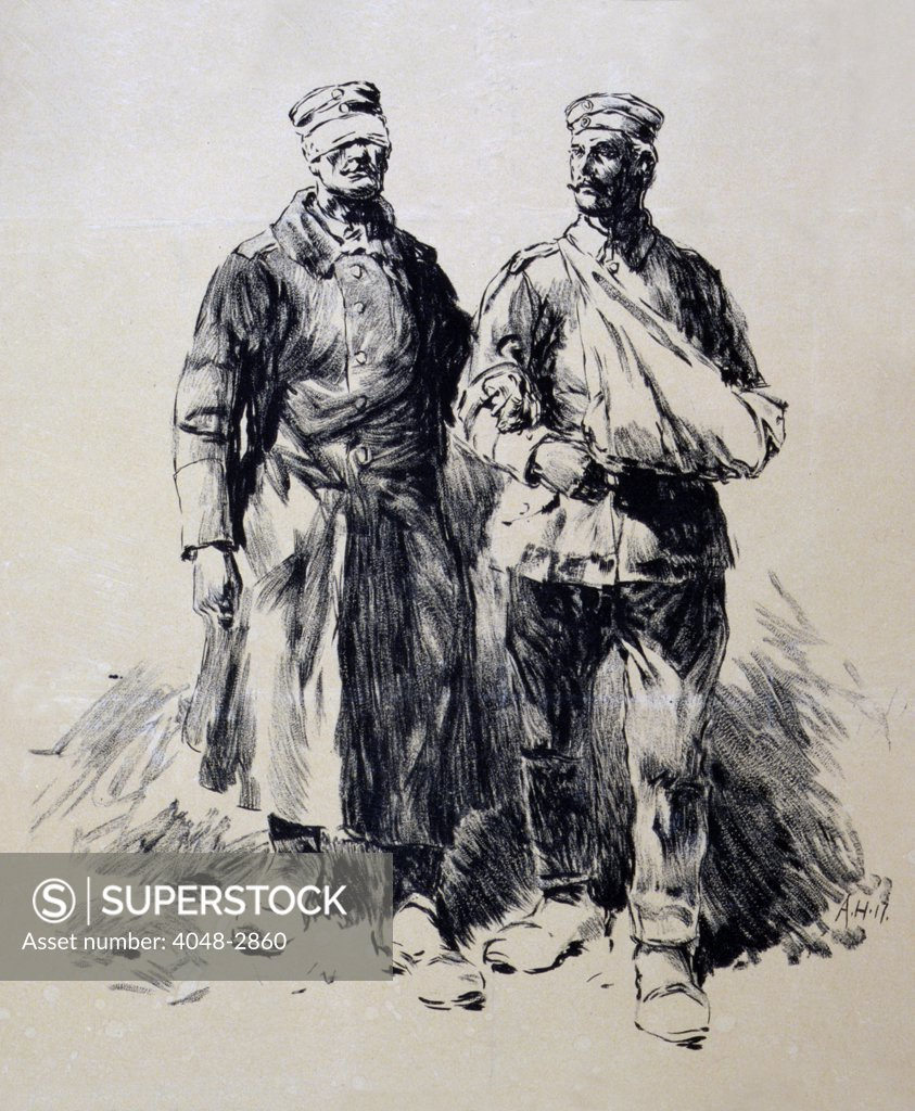 Stock Photo: 4048-2860 World War I, Poster shows wounded German veterans, a blind soldier being led by a soldier with his arm in a sling, lithograph by Dr. C. Wolf U. Sohn, 1917.