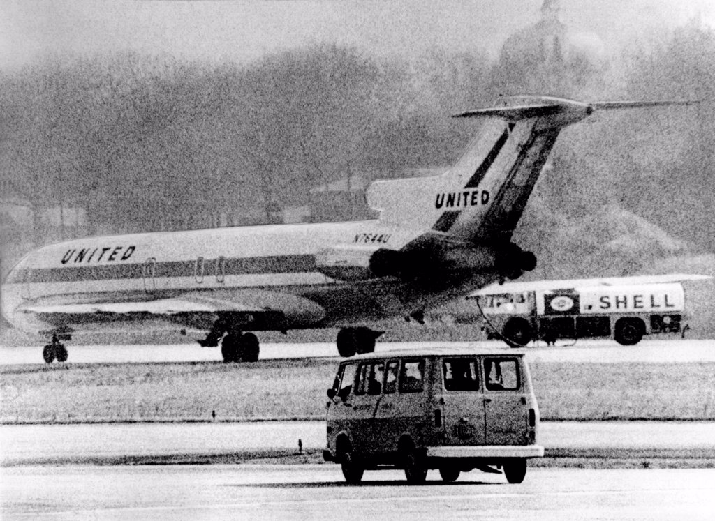 Stock Photo: 4048-10115 Jet liner hijacked to Cuba. The United Airlines flight from Cleveland took on fuel at Atlanta and them continued to Cuba. The hijacker was imprisoned in Cuba and later fatally shot escaping from prison in 1973, March 11, 1970.