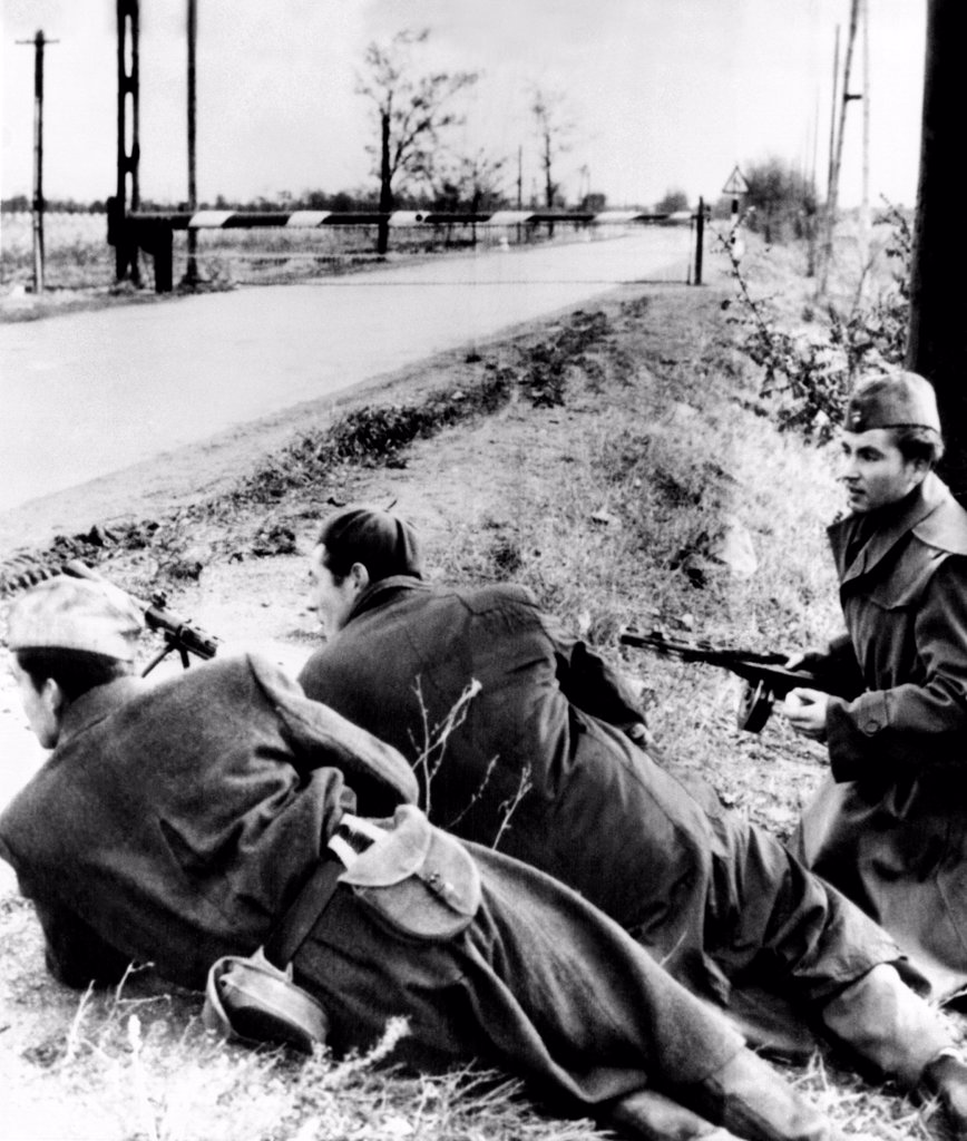 The 1956 Hungarian Uprising. Anti-Soviet rebels, armed with submachine guns, near the Austrian border. They went into Austria to join a new rebel resistance massing along the Yugoslav border in the Komlo forest. Nov. 8, 1956. : Stock Photo
