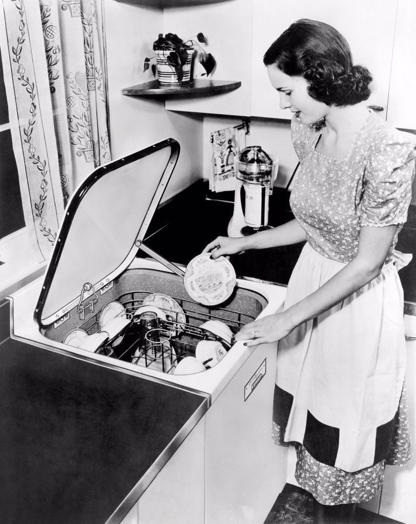 Stock Photo: 4048-10201 General Electric 1948 top loading dishwasher.