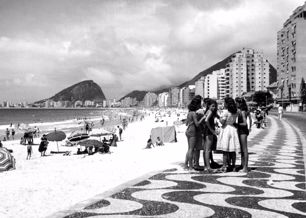 Stock Photo: 4048-1024 Mosaic sidewalk, Rio de Janeiro, Brazil, 1941