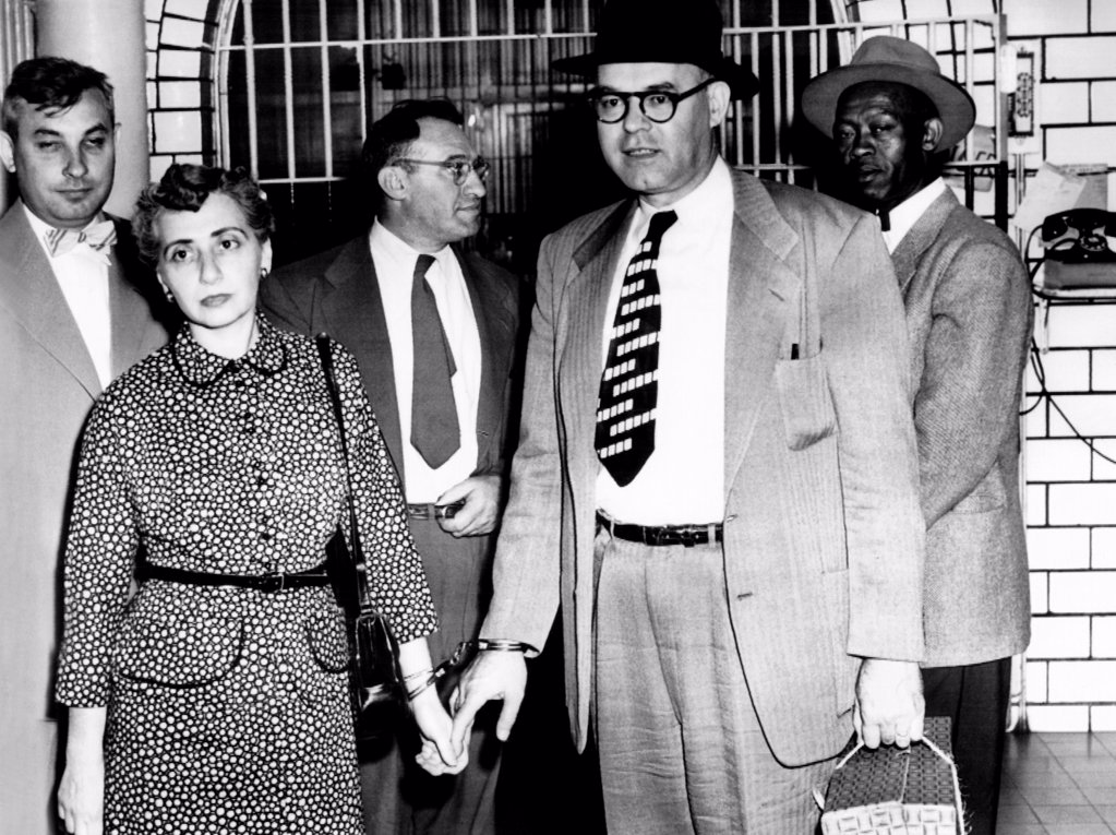 Five Communists sentenced to jail in St. Louis. They were convicted of found guilty of conspiring to advocate the overthrow of the government by force. L-R: Robert Manewitz, Dorothy Forest, William Sentner, James Forest, Marcus Murphy. June 4, 1954. : Stock Photo