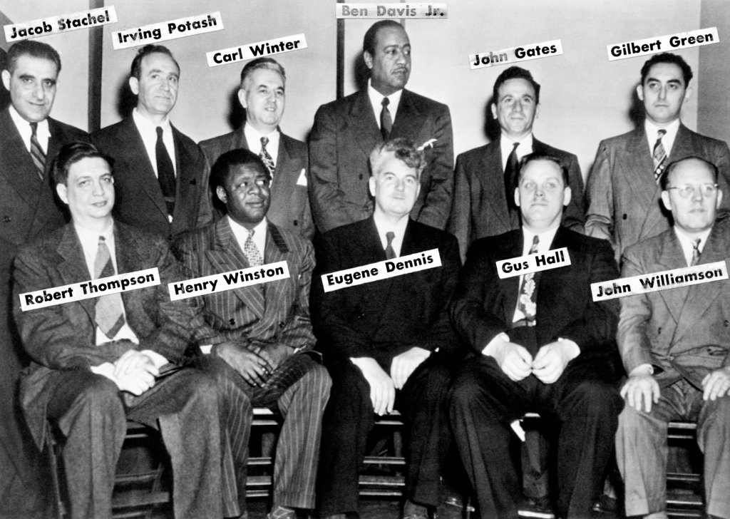 Communist Leaders who were on trial in 1949. L-R: Front: Robert Thompson, Henry Winston, Eugene Dennis, Gus Hall, John Williamson. Back Row: Jacob Stachel, Irving Potash, Carl Winter, Ben Davis Jr., John Gates, Gilbert Green. Jan 17, 1949. : Stock Photo