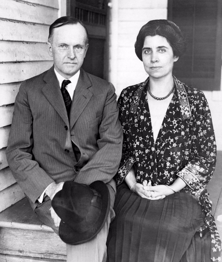 President Calvin Coolidge and First Lady Grace Coolidge at his father's farm house in Plymouth, Vermont, 1923 : Stock Photo