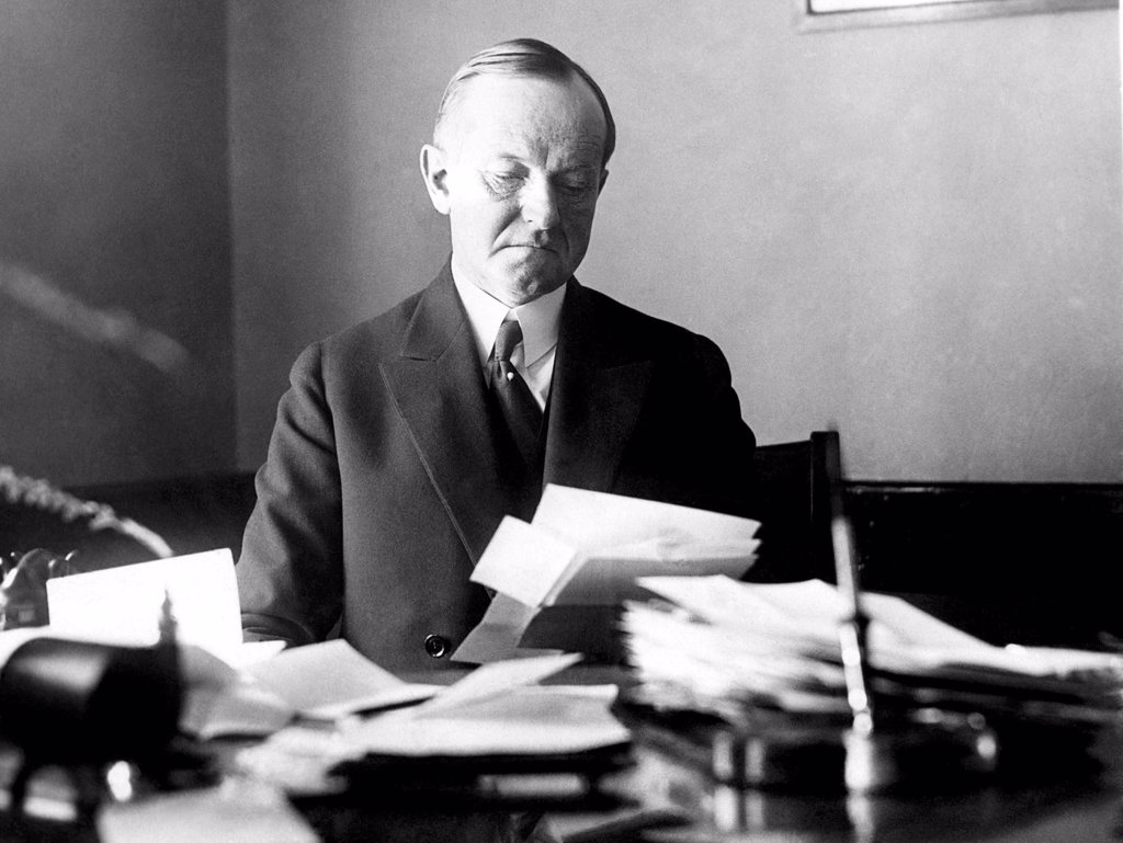 Calvin Coolidge returns to his law office in Massachusettes, 1929 : Stock Photo