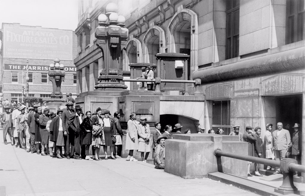 Stock Photo: 4048-10522 Negro voter registration line at county court house, Atlanta, Georgia. May 1946.