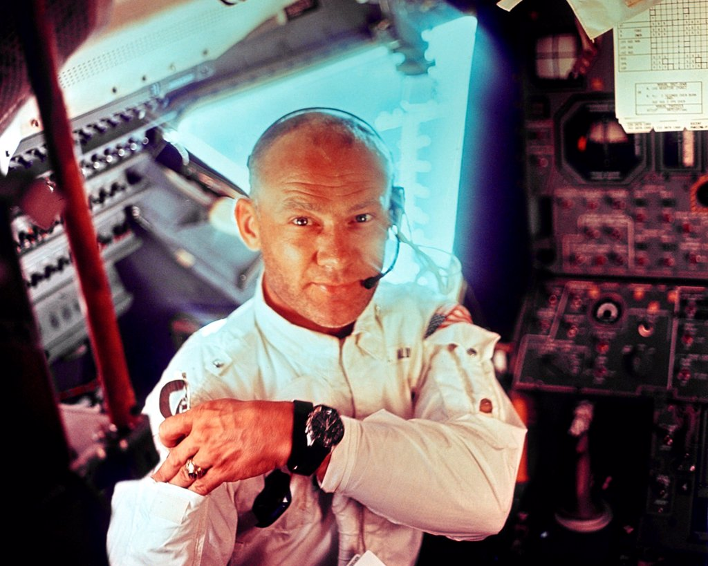 Apollo 11 Lunar Module pilot Edwin Aldrin during the lunar landing mission. July 20, 1969. : Stock Photo