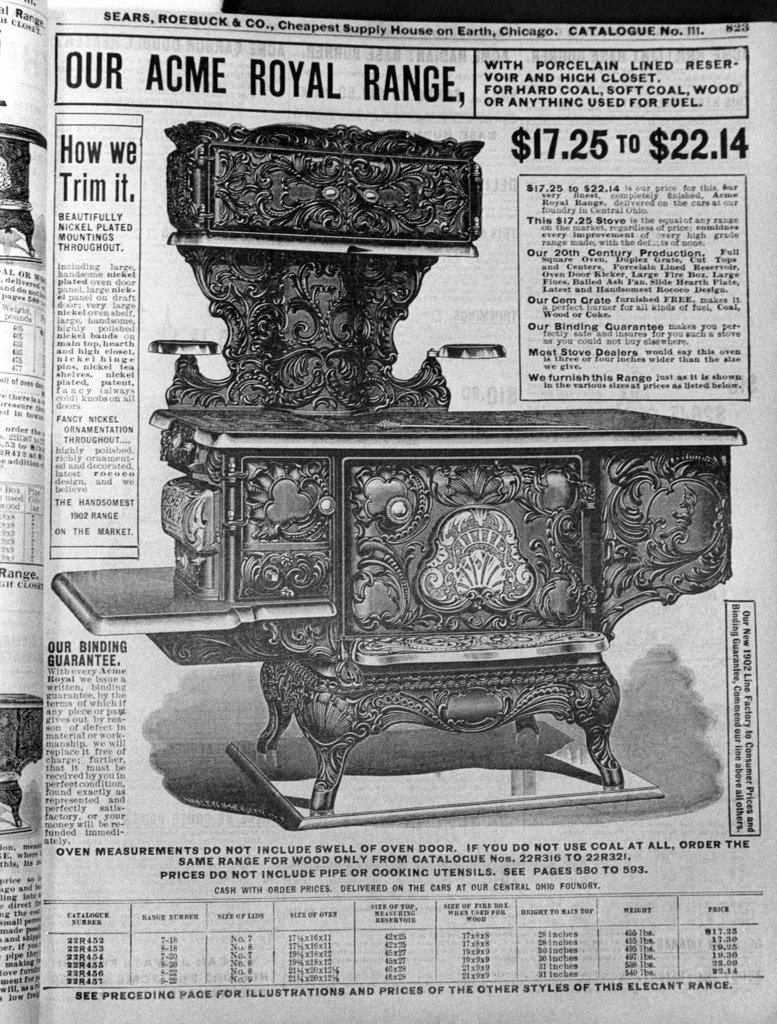 Ad for a coal oven in a 1902 Sears catalog. : Stock Photo