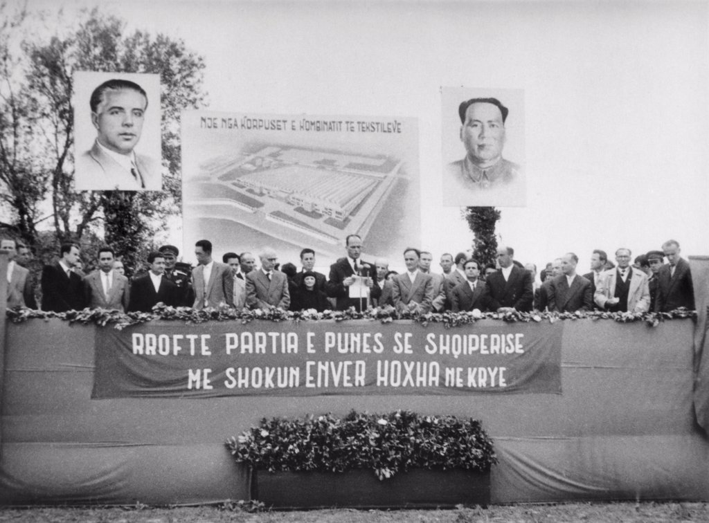 Stock Photo: 4048-10635 Large posters of Albania Enver Hoxha and Mao Tse-tung at an Albania government ceremony in 1963. Albania's Communist Party rejected Soviet anti-Stalinist reforms and turned to Maoist China for alliance and support.