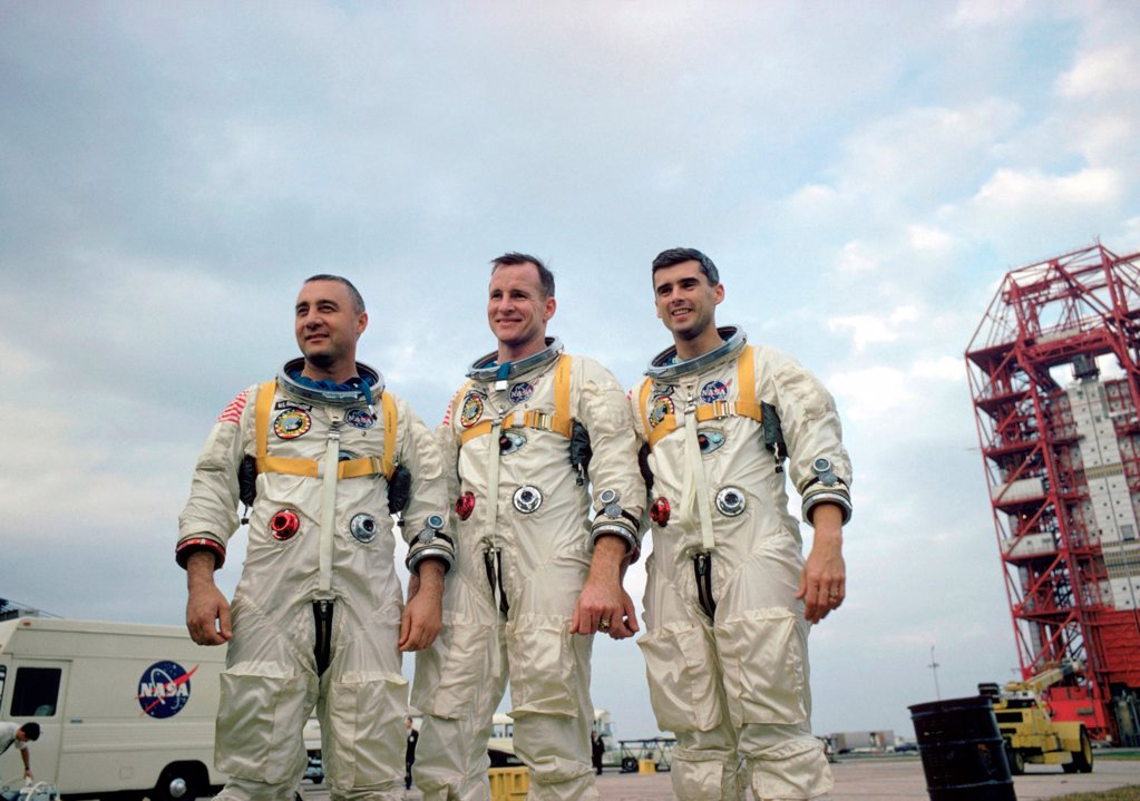 Astronaut crew training for the first Apollo mission. On Jan. 27, 1967 they was killed when a fire erupted in their capsule during testing. L-R: Gus Grissom, Edward White II, Roger Chaffee. : Stock Photo