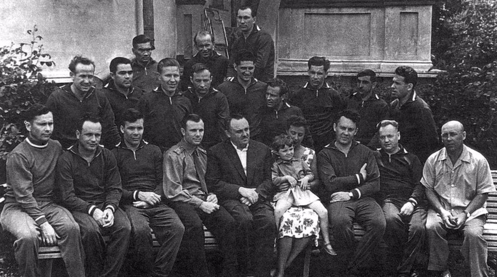 Stock Photo: 4048-10776 The original 1960 group of Cosmonauts is shown in a photo from May 1961. Sitting, L-R: Popovich, Gorbatko, Khrunov, Gagarin, Korolev, Nina Koroleva, with Popovich's daughter Natasha, Karpov, Nikitin, and Fedorov. Second row, L-R: Leonov, Nikolayev, Rafikov, Zaykin, Volynov, Titov, Nelyubov, Bykovskiy, and Shonin. Back row, L-R: Filatyev, Anikeyev, and Belyayeu.