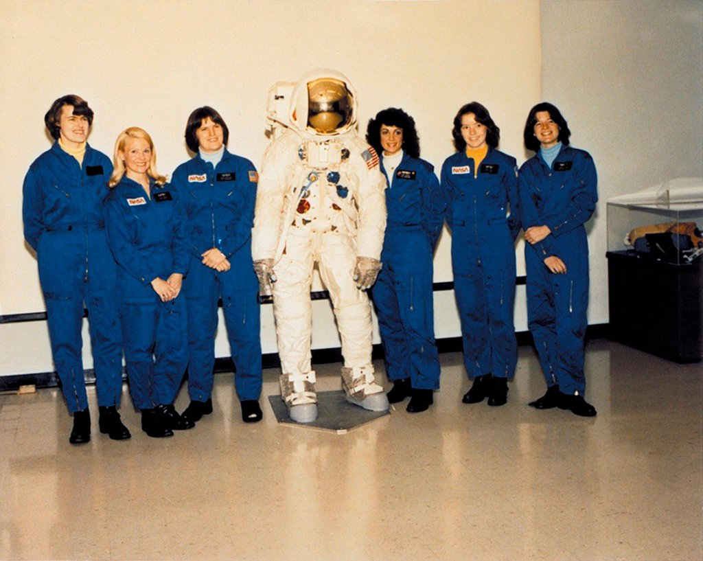 Stock Photo: 4048-10797 First Class of Female Astronauts who completed training in 1979. L-R: Shannon Lucid, Margaret Rhea Seddon, Kathryn, Sullivan, Judith Resnik, Anna Fisher, and Sally Ride.