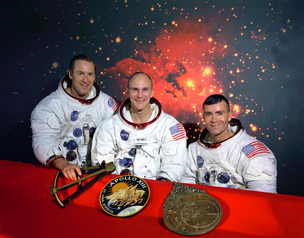 Apollo 13 crew. L-R: Commander, James Lovell, Command Module pilot, Thomas Mattingly, and Lunar Module pilot, Fred Haise. Mattingly was replaced by Jack Swigert for medical reasons. Dec. 11, 1969. : Stock Photo