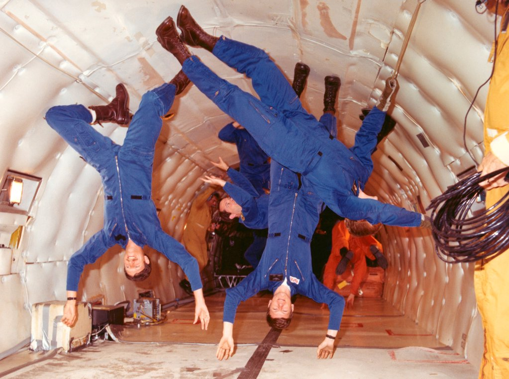 Stock Photo: 4048-10837 Space shuttle astronauts in zero gravity training. L-R: Richard Covey, Steven Nagal, and George Nelson.