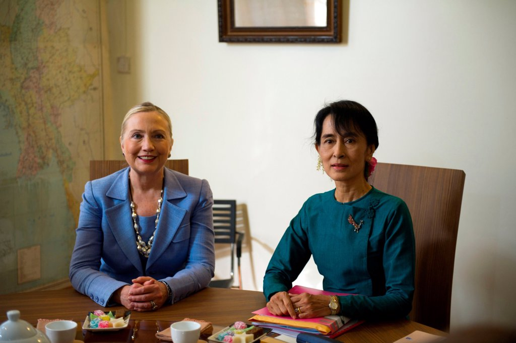 Hillary Clinton visited Daw Aung San Suu Kyi at her house in Rangoon, Myanmar (Burma). December 2, 2011. : Stock Photo