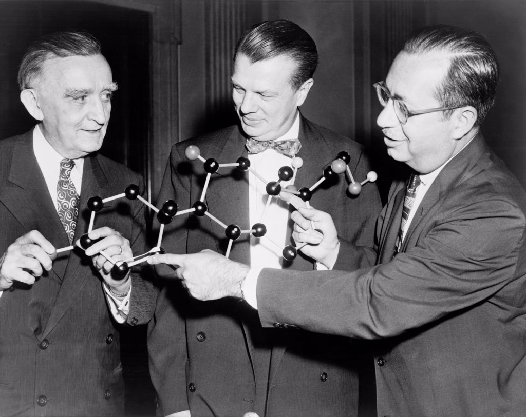 Stock Photo: 4048-10899 Scientists with a model of the molecular structure of cortisone. Senator Joseph O'Mahoney (center), with National Institute of Health scientists' Dr. Floyd S. Daft, and Dr. Joseph J. Bunim. 1956 July 17, 1956.