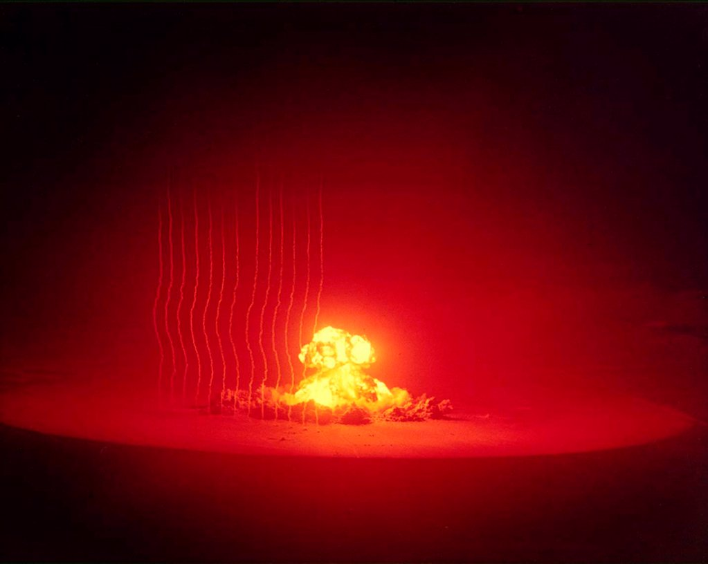 Stock Photo: 4048-10983 The ANNIE shot was a 16 kiloton nuclear bomb. It was tested in the Operation Upshot-Knothole series conducted by the Federal Civil Defense Administration to study the effects of the nuclear blast on wooden frame houses, automobiles and bomb shelters. Mar. 17, 1953.